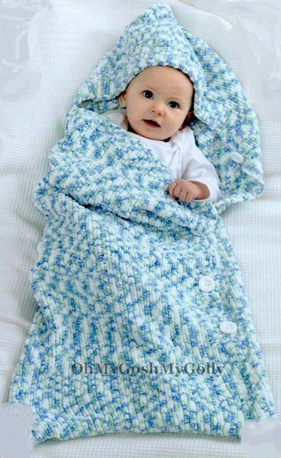 PDF Knitting Pattern Babys Sleeping Bag/Sack or Cocoon