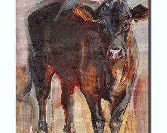 Western cow portrait Original oil Painting  on canvas panel 12CMX18CM