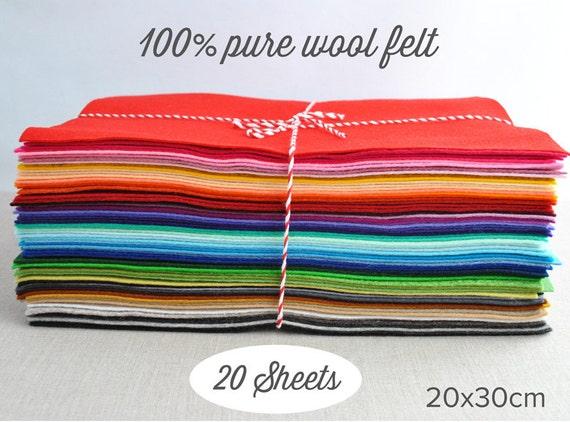 """100% wool felt sheets - 20x30cm (8x12""""), choose 20 colours - pure merino wool felt"""