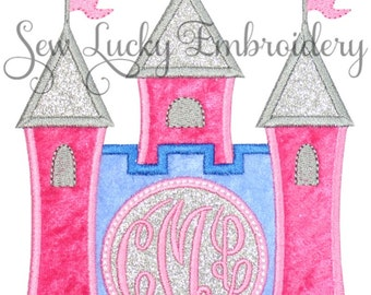 Princess Castle Monogram Applique Embroidered Patch, Sew or Iron on