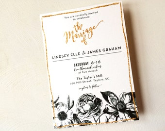 Black and White Floral Wedding Invitation, with gold glitter accents and modern calligraphy