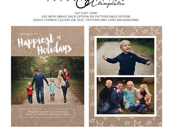 Rustic Happiest Holidays Christmas Cards, Kraft Paper Star Christmas Card, Holiday Photo Template, Photography Template, CC214