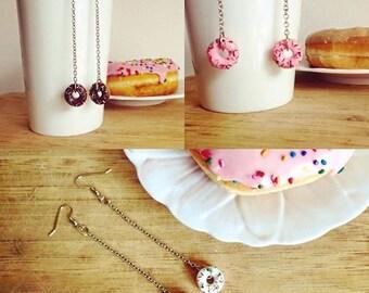 Pink, White, or Chocolate Sprinkle Donut Earrings plastic food