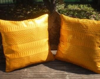 Lai Thai Fabric Cushion Covers, Set Of 2, Gold Pillow, Tribal Pillow, Thai Pillow,