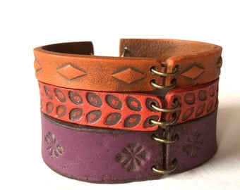 Colorful Bangles, Fall Colors, Wrap Bracelet in Purple, Red and Orange, Rich Texture, Handmade Clay Bracelet, Fall 2016, Jewelry Trends 2017