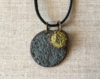 Sun Earth Rustic Disk Necklace, Yoga Necklace, Astronomy Jewelry, Tribal, Basic, Net Urban Accessories, NYC street style, Gray and Olive