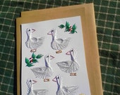 Six Geese A Laying, Hand Stitched Christmas Card