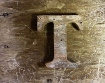 "Beach Decor Wooden LETTER ""T"" Vintage Style Nautical by SEASTYLE"