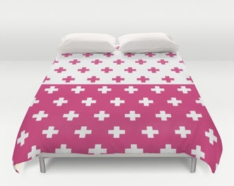 36 colours, Swiss Cross Duvet Cover, Half Half YIN YANG print, Raspberry Sorbet, double duvet, king duvet cover, plus sign queen duvet cover