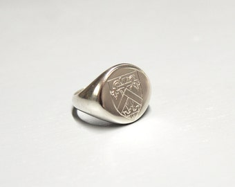 Custom Designed and Engraved Signet Ring, made to order in shape of your choosing, sterling silver, gold on request