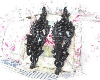 Shabby Black Velvet Distressed Ornate Scrolled Floral Tassel Candle Wall Sconce Set Pair 2 Cottage Chic READY TO SHIP