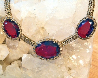 Monet large red stones set with small yellow rhinestones choker