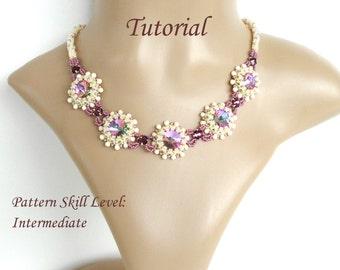 SUGAR PLUM beaded necklace beading tutorial beadweaving pattern seed bead beadwork jewelry beadweaving tutorial beading pattern instructions