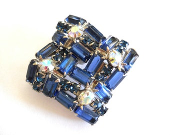 Blue Rhinestone Brooch Sapphire Blue Baguettes Aurora Borealis Vintage