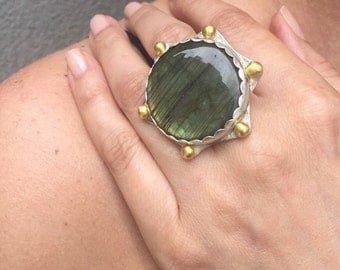 Statement Labradorite Ring in Sterling Silver with Ethiopan Gold.