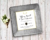 Custom wedding invitation keepsake decoupage plate unique wedding gift idea for couples for parents 1st anniversary gift match your colors