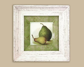 One custom pear plate with botanical border in green in white frame - pears art - pears botanical print wall hanging - green pears