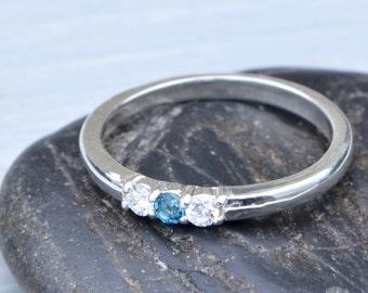 London Blue Topaz Ring, Gemstone Ring, Blue Topaz Jewelry, Birthstone Ring, December Birthstone Ring, Stacker Ring, Topaz Jewelry
