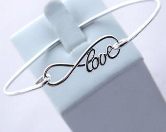Bangle Bracelet, Love Infinity Bracelet, Infinity Jewelry, Love Bracelet, Friendship Bracelet, Infinity Bangle Bracelet, Love Bangle