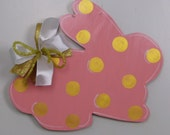Easter Door Hanger, Bunny Door Hanger, Coral and Gold Rabbit, Spring Door Hanger, Wreath Accessories, Baby Shower Decor