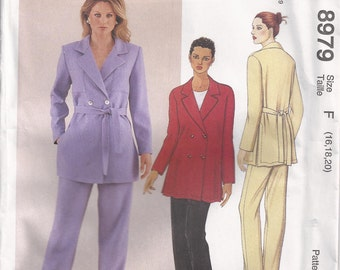 Double Breasted Jacket Side Slits And Ties To Front Or Back And Pull On Pants Plus Size 16 18 20 Sewing Pattern 1997 McCalls 8979