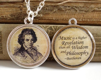 Beethoven Necklace - DOUBLE-SIDED Beethoven Quote Pendant in Bronze or Silver - Music Jewelry