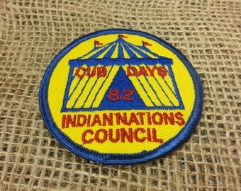 Vintage Cub Scout 1982 Cub Days Indian Nations Council Cub Scout Patch Circus Tent