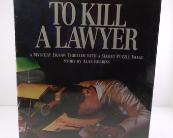 """Bepuzzled A Mystery Jigsaw Thriller With Secret Image """"To Kill A Lawyer"""" NIB '93 500 Piece Difficult Puzzle"""