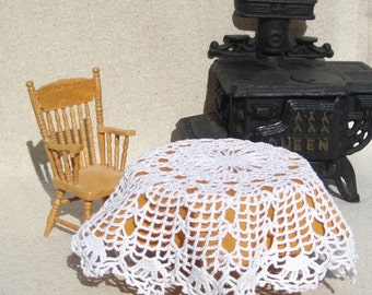 Dollhouse Tablecloth Miniature Round Tablecloth Gold and White Miniature Tableloth 12th Scale Dollhouse Table Cloth Crochet Lace Tablecloth