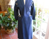 Rare vintage linen dress 1940's navy white crisp sailor collar side metal zipper school girl collectible nautical: large