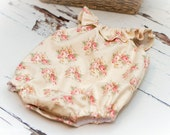 NEWBORN Romper - Photo Prop - 100% Cotton Lizzie Pink - newborn outfit, photography - Ready to Ship