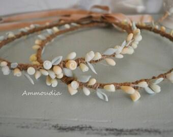 Rustic wedding wreaths with handmade cold porcelain flowers- beach wedding- wedding crown - orthodox stefana - bridal accessories, set of 2