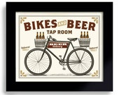 Bicycle Art Bar Gift Beer Art Bike Art Beer Sign Men's Gift for Him Cycling Art Beer Gift Bike Enthusiast Bar Decor Office Art