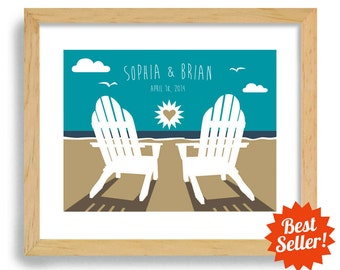 Beach Chairs Wedding Gift - Art Print Personalized For Couples - Ocean Theme - Destination Wedding - Adirondack Beach chairs