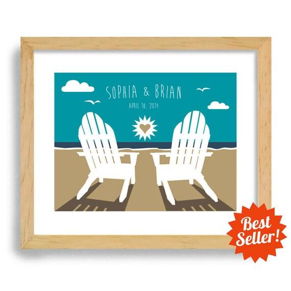 Beach Chairs Wedding Gift - Art Print Personalized For Couples - Ocean Theme - Destination Wedding - Adirondack Beach chairs
