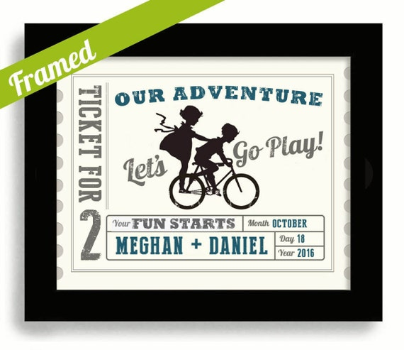 Wedding Gifts For Adventurous Couples : Newlyweds Wedding Gift For Couples Adventure Awaits Wedding Ticket ...