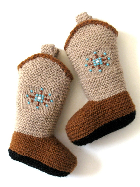 Knitting Pattern Baby Cowboy Booties : Knitted Baby Cowboy Boot Booties..Beaded by RozelynnsNeedleArt