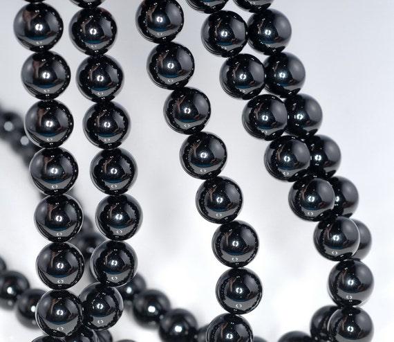 4mm Noir Black Onyx Gemstone Black Round Loose Beads 14 inch (90164939-11)