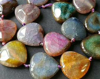 Natural Pastel Multi Color Agate / Heart Shape / Side Drilled (a.s/ nu)(daoyu 009)