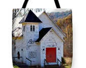 """TOTE BAG/""""Little White Church On A Backroad/Fine Art Tote Bag Perfect For Everyday Use, Sunday School Supplies,or Gift For Special Person"""