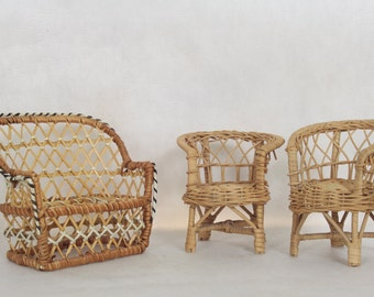 Vintage Wicker Doll Furniture Dollhouse Furniture Vintage Toys Dolls Dollhouse Vintage Doll Furniture Wicker Couch and Chairs