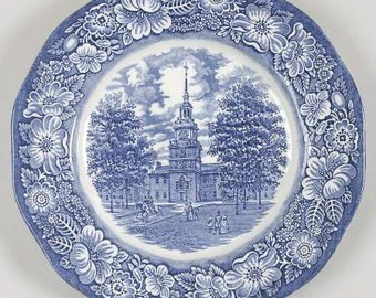 Liberty Blue Dinner Plate Staffordshire England Transfer Ware Independence Hall Ironstone Dinnerware