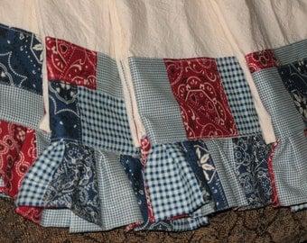 Bandana Patchwork Ruffled Tea Towels Set of Four Free Shipping