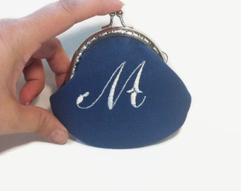 Monogrammed Coin Purse Small, Personalized Coin Purse, Small Change Purse, Snap Closure Purse