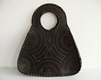 Tooled & Gorgeous . Superb Genuine Real Tooled Leather Bag Handbag 70s Unused NOS New Old Stock!