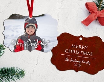 Personalized Photo Christmas Tree Ornament - Double Sided with Ribbon - Beyond Blessed Red