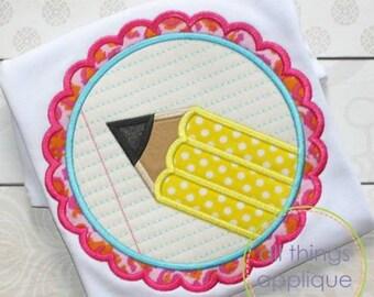 Pencil Scallop Patch Applique Design (#771) - SATIN Stitch - 4 Sizes - Back to School Applique - INSTANT DOWNLOAD