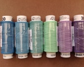 Six spools of Czech cotton lacemaking thread - summer time