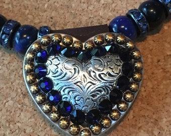 Heart concho Necklace Blue Tigereye Swarovski Crystal Sodalite Western Jewelry Rodeo Style