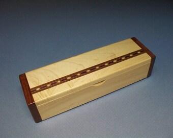 Desk Accessory, Keepsake Box, Small Wooden Box, Treasure Box, Walnut & Figured Walnut Inlay Box - Lacquer Finished